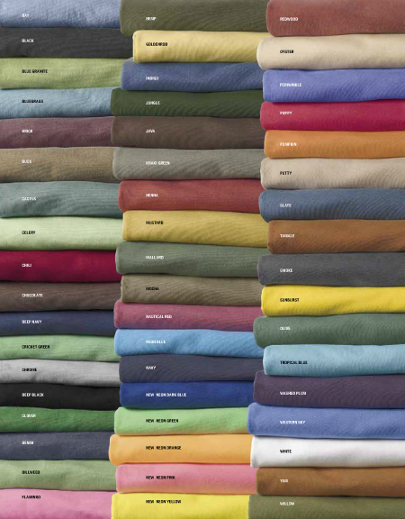 Authentic Pigment T-Shirt Colors